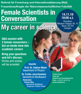"Zum Artikel ""Female Scientists in Conversation 14.11.19"""